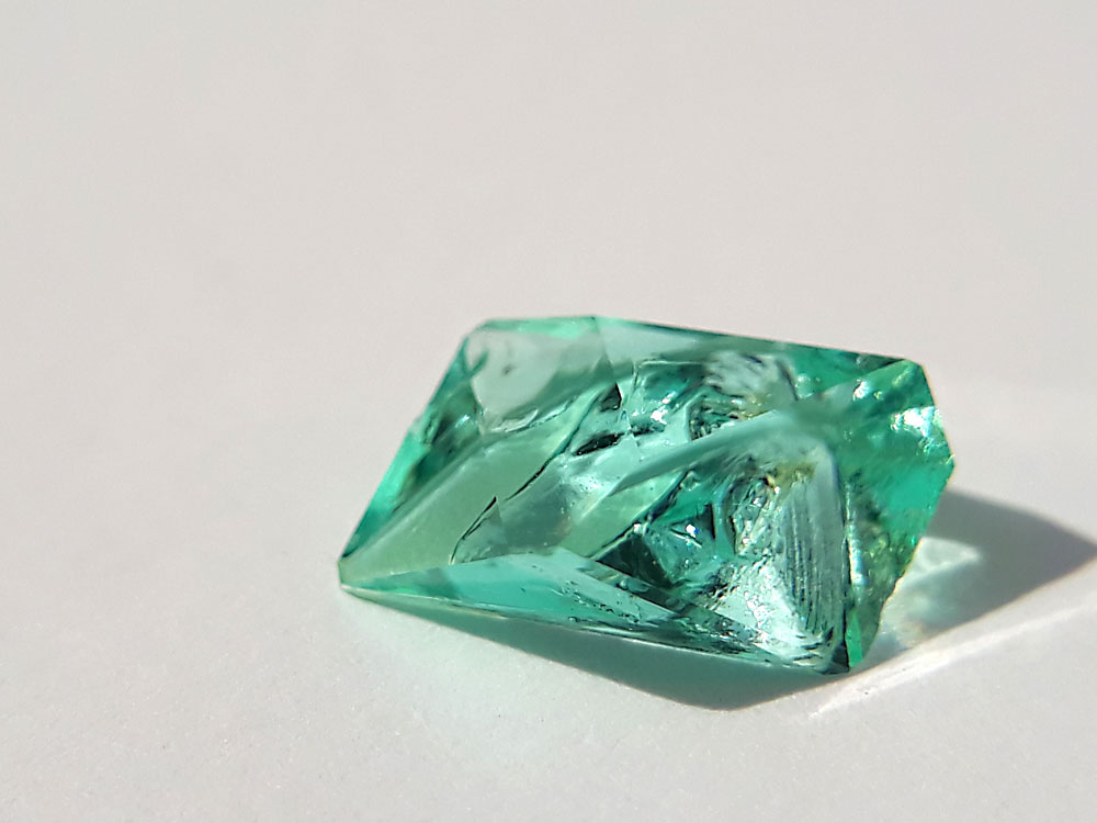 An iron sulfate crystal sitting under the morning sun.