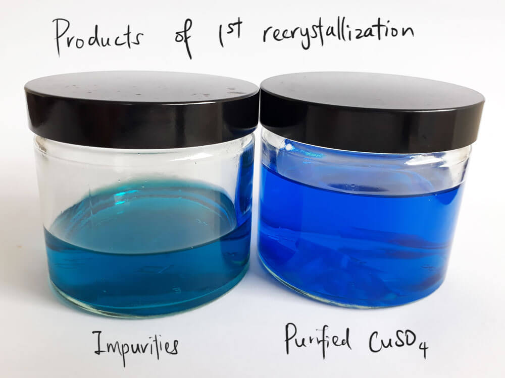 The products of the first recrystallization.