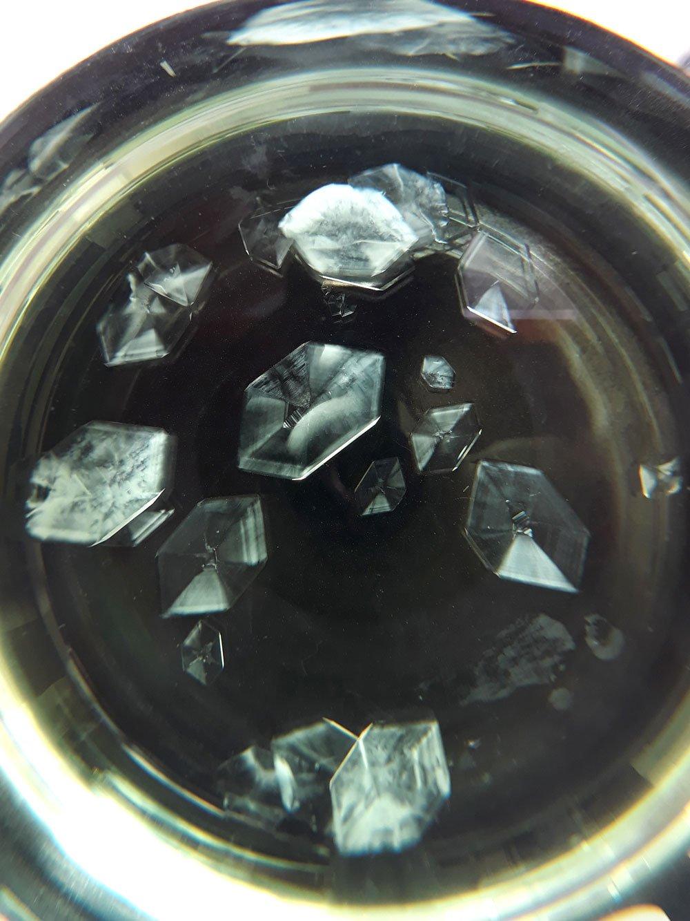 Mohr's salt crystals ready for harvesting.