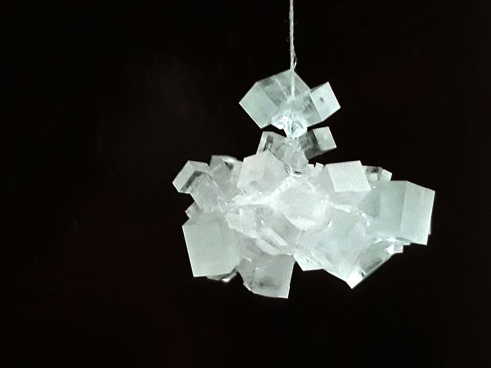 A beautiful cluster of table salt crystals.