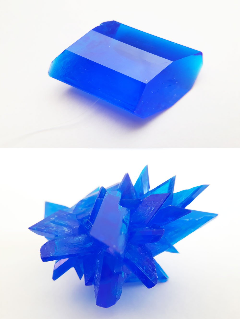 Comparison between copper sulfate single crystal and crystal cluster