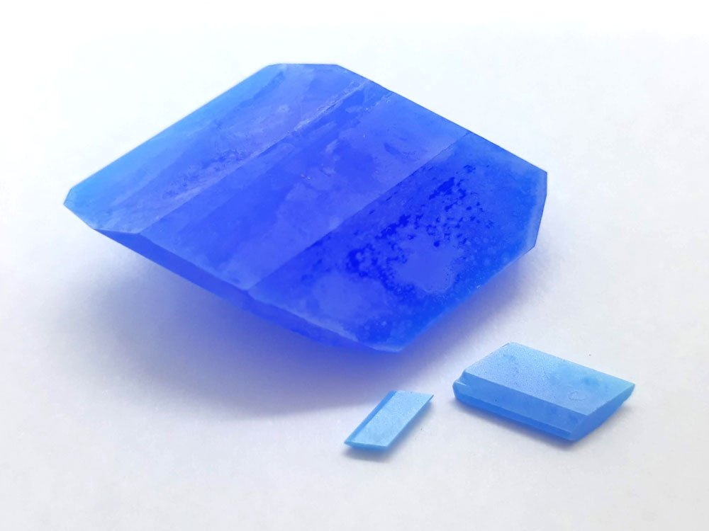 Dehydrated copper sulfate crystals