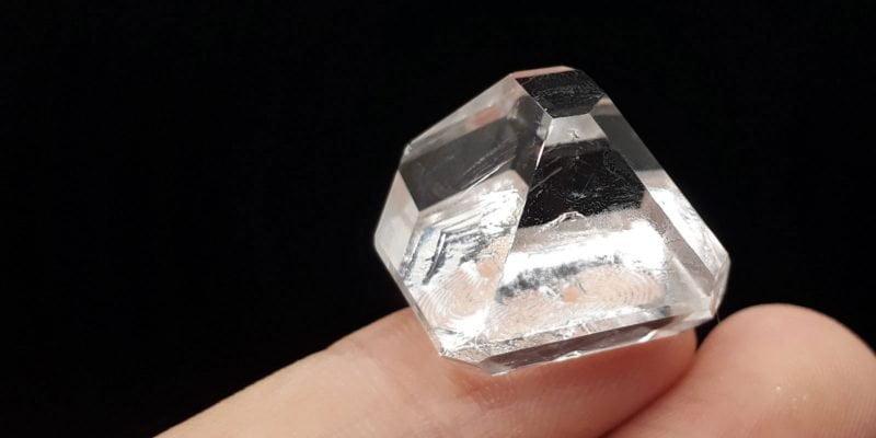A high quality pyramidal alum crystal grown at home.