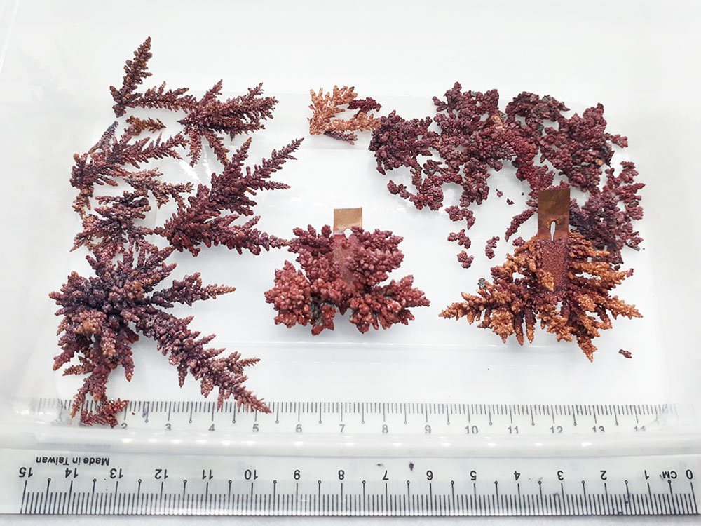 Specimens of pure elemental copper crystals