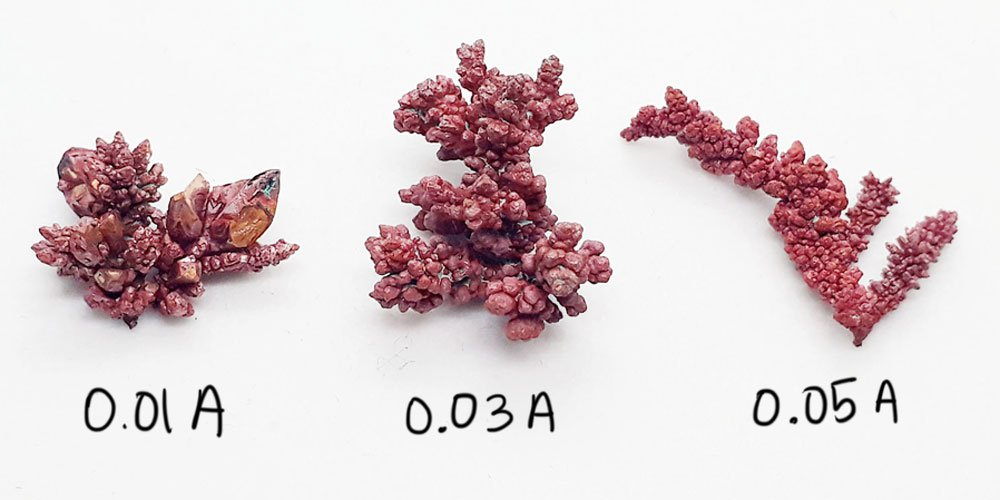 Comparison of copper metal crystals grown using different currents